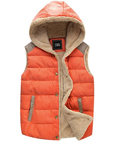 ZSHOW Women's Hoodied Sport Casual Warm Thick Hooded Vest,US-XL,Lily Orange