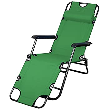 go2buy Outsunny Reclining Beach Sun Lounge Chair with a Removable / Adjustable pillow, Army Green