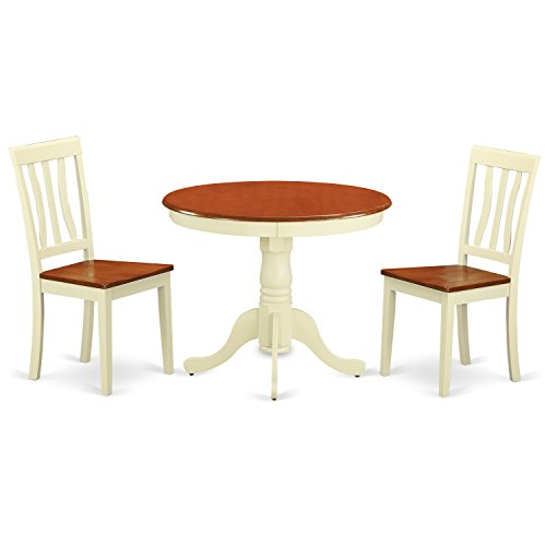 ANTI3-WHI-W 3 Pc Kitchen nook Dining set-Kitchen Table and 2 Chairs for Dining room