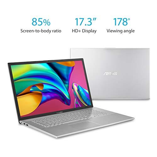 """Asus Vivobook 17 F712FA Thin and Light Laptop, 17.3"""" HD+, Intel Core I5-8265U Processor, 8GB DDR4 RAM, 128GB SSD + 1TB HDD, Windows 10 Home, Transparent Silver, F712FA-DB51"""