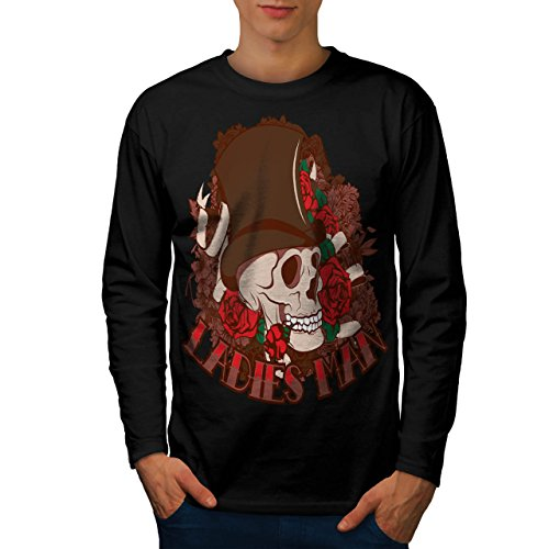 Ladies Man Skull Men M Long Sleeve T-shirt | Wellcoda (Birds Of War Costume)