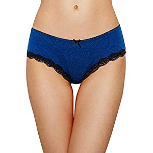 CharmLeaks 4 Pack Women Cotton Underwear Lace Trim Knickers