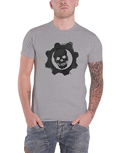 Gears Of War 4 T Shirt Crimson Omen Gear Skull Logo Official Mens Grey