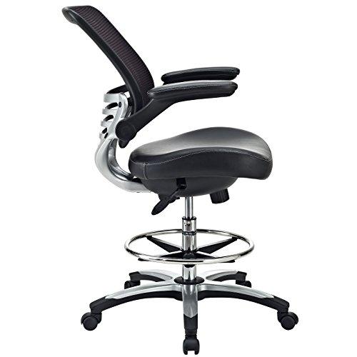 Modway Edge Drafting Chair In Black Vinyl Reception Desk