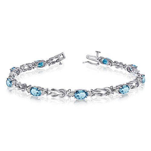 2.61 Carat (ctw) 14k White Gold Oval Aquamarine and Diamond Interlocked Tennis Bracelet - 7
