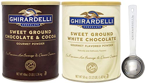 Ghirardelli - Sweet Ground Chocolate & Cocoa Gourmet Powder 3 lbs & Sweet Ground White Chocolate Gourmet Flavored Powder 3.12 lb - with Exclusive 1.5 Tbsp Measuring Spoon