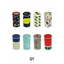 Set of 8 Home Kitchen Storage Containers Colorful Tins Round Tea Tins(YG)