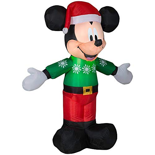(Gemmy Inflatable Mickey Mouse in Green Snowflake Sweater and Red Pants Indoor/Outdoor Holiday Decoration - 3.5Ft. Tall)