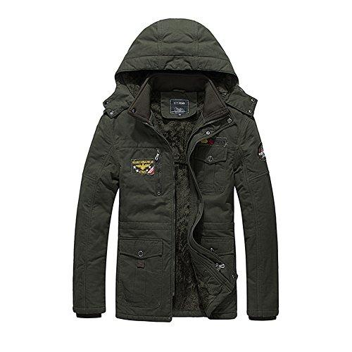 H.T.Niao Jacket9935C1 Men 's Fashion Plus Velvet Warm Cotton Jackets(Army Green,Size - Sales Outlet Anthem