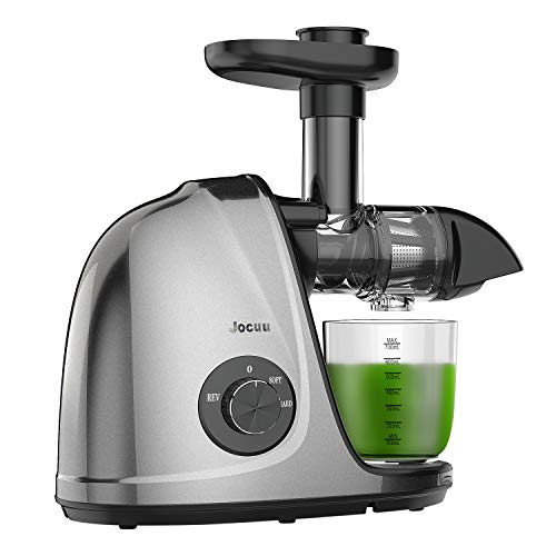 Juicer, Jocuu Slow Masticating Juicer Machines Easy to Clean, Soft/Hard Two Speed Quiet Motor Reverse Function Anti-clogging, Cold Press Juice Extractor with Brush & Recipes
