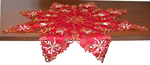 """EcoSol Designs Embroidered Table Topper Centerpiece (34"""" Diameter, Red) Christmas Star"""