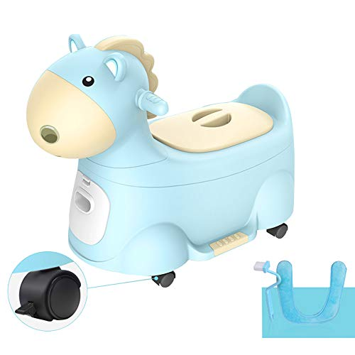 Commode Chair ALY Children's Potty Training Seat, Infant Toilet Seat, Toy Horse, Brake Caster Toilet, Splash-Proof Potty, Safety Load 60kg (132lb)