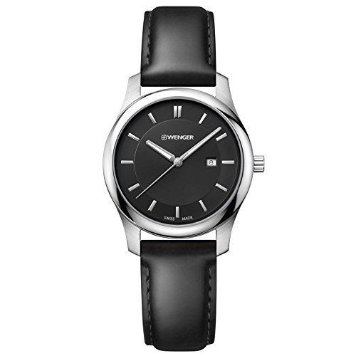 Wenger Men's 'City Classic' Swiss Quartz Stainless Steel and Leather Casual Watch, Color:Black (Model: 01.1421.103)