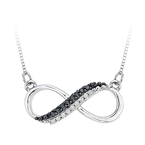 Black Diamond Infinity Pendant - Two Row Infinity Black and White Diamond Pendant Necklace in Sterling Silver (1/20 cttw, G-H, I2-I3)