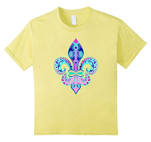 Kids FLEUR DE LIS T-Shirt - Ladies & Youth 8 Lemon (New Orleans Costume)