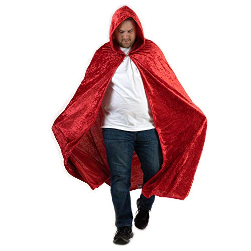 Everfan Red Hooded Cape | Cloak with Hood for Halloween, Cosplay, Costume, Dress Up -