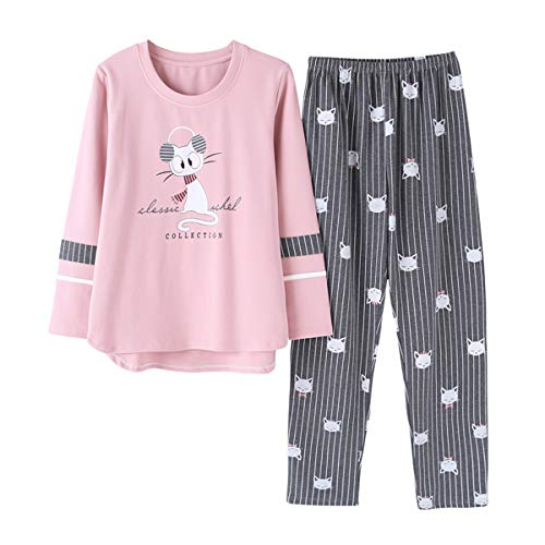 Vopmocld Big Girls Pajama Sets Long Sleeve Striped Lovely Cats Sleepwear 2 Piece PJS, Gray, M(12)=US 8-11 Years