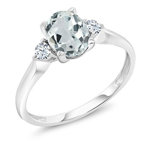 10K White Gold 1.20 Ct Sky Blue Aquamarine White Created Sapphire 3-Stone Ring Aquamarine 10k Gold Ring