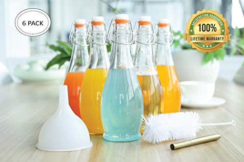 mockins Set of 6 | 17 Oz Glass Bottle Set with Swing Top Stoppers and Includes Bottle Brush, Funnel and Gold Glass Marker | Clear Glass Water Bottle
