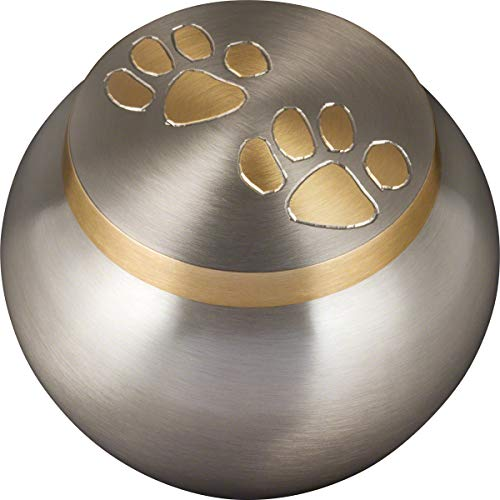 Best Friend Services Mia Paws Series Pet Urn (Pewter, Small, Brass)