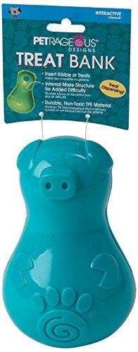 PetRageous 14004 Think Treat Bank Pet Chew Toys, Aqua For Sale