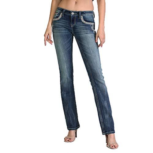 Grace in LA Women's Feather Embellished Easy Bootcut Jeans | EB-71009 - Size 32 Blue