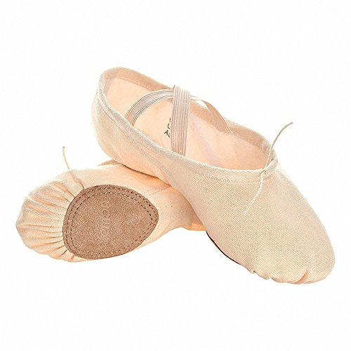 s.lemon Classic Pink Soft Canvas Ballet Dance Shoes Slippers for Children Girls Women Toddlers Kids in Different Size (41 (How To Wear Ballet Slippers)