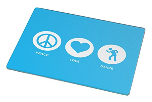 Rikki Knight Peace Love Dance Sky Blue Large Glass Cutting Board by Rikki Knight