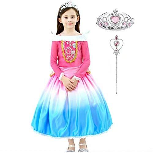 Tsyllyp Girls Princess Sleeping Beauty Costume Aurora Dress Up Long Sleeve Outfits 3PCS -