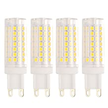 Bogao G9 Base 88-SMD 2835 8W LED Light Bulb, 600-700LM, Equivalent to 70W Halogen Lamp Replacement, AC 110V-130V, 360 Omni-direction Beam Angle, Non-dimmable 6000K (4 Pack White)