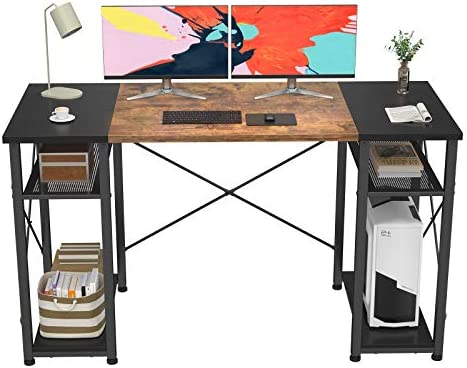 "Foxemart Computer Desk 47"" Office Desk with Storage Shelves, Industrial Student Study Writing Desk, Modern Work Desk for Home Office, Small Desk Gaming PC Table Workstation, Rustic and Black"