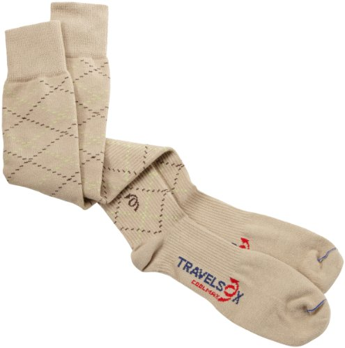 (Travelsox Odissey Flight OTC Support Compression Travel Recovery Socks,TS5000, Khaki, Small)