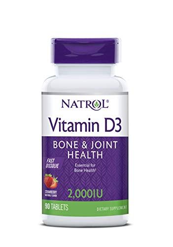 Natrol Vitamin D3 2,000 IU Tablets, Support Your Immune Health, Strawberry, 90 Count