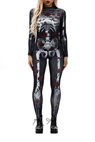 Selowin Ladies Skeleton Skull Stretch Halloween Costume Overall