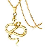 MPRAINBOW Men Boy Necklace Pendent Gold Stainless Steel Snake Necklace Animal Jewelry + Free Chain