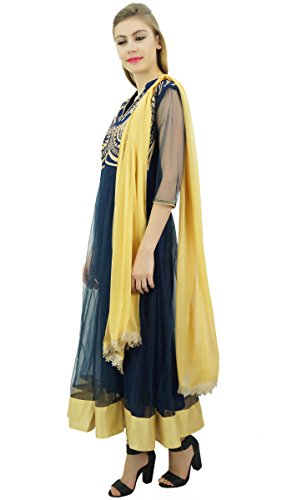 Marineblau gestickten Netzkleid und mit Churidar Anarkali Beige Kurti Designer Dupatta von Atasi wCqz4z
