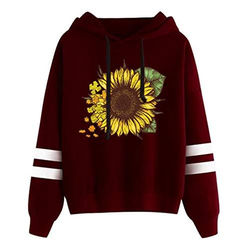 [해외]Thenxin Women`s Fashion Hoodies Sweatshirt Stripes Long Sleeve Sunflower Print Drawstring Pullover / Thenxin Women`s Fashion Hoodies Sweatshirt Stripes Long Sleeve Sunflower Print Drawstring Pullover(Wine,XXL)