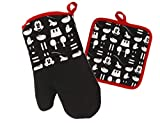 Disney Kitchen Oven Mitt/Glove and Square Potholder Set w/Neoprene for Easy Non-Slip Gripping - Protect Your Hands in The Kitchen - Heat Resistant Kitchen Accessories - Mickey Mouse Icon (Black)