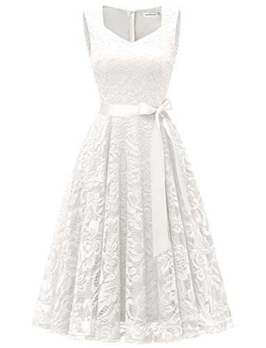 (Gardenwed Elegant Floral Lace Bridesmaid Dresses Sleeveless V Neck Formal Dresses Cocktail Dresses for Women White L)