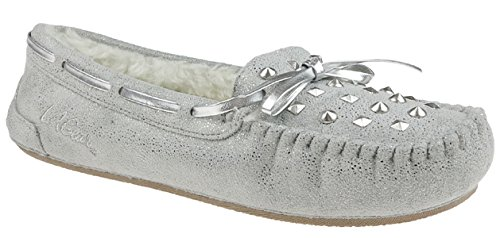 LA Gear Metallic Faux Suede Moccasin with Studs, Bow Trim...