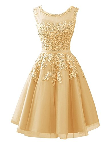 Cdress Tulle Short Junior Homecoming Dresses Appliques Cocktail Gowns Beaded Evening Dress Gold US (Canada Fit Shorts)