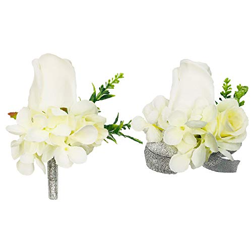 Abbie Home Prom Corsage Boutonniere Set Rose Flower Pin Wristlet for Party (White) (Fresh Flower Corsage)