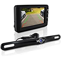 Pyle Backup Camera and Monitor Kit for Car | Universal Waterproof License Plate Car Backup Parking Camera + 4.3 TFT/LCD Rear View Monitor | Parking Safety | Tilt Adjustable Dash Cam w Night Vision