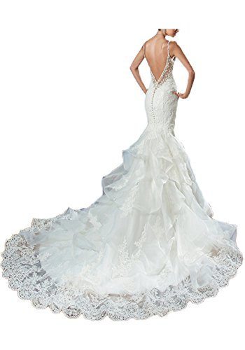 Women's Mermaid Wedding Dress for Bride 2019 Backless Lace Appliques Bridal Gowns (14, Ivory)