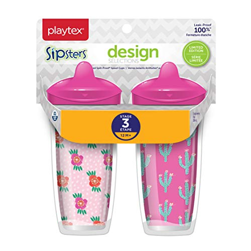 - Playtex Sipsters Stage 3 Design Selections Spill-Proof, Leak-Proof, Break-Proof Insulated Spout Cup for Girls, 9 Ounce - 2 Pack