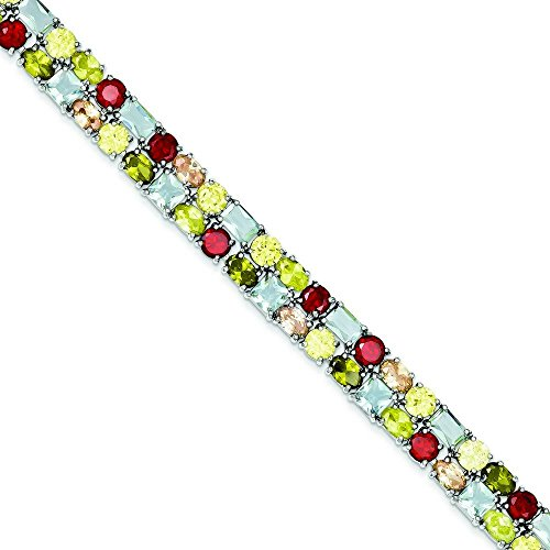 Argent Sterling 18 multicolore CZ Bracelet à fermoir-JewelryWeb