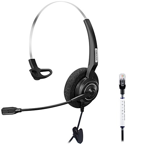 Arama Wired Headset Monaural with Noise Canceling Mic for Avaya 1616 9650 Cisco 7902 7912 Yealink T41 Snom 870 Grandstream GXP1400 Panasonic KXT Huawei C58 Zultys 37G IP Phones (A200Y1) by AAA ARAMA