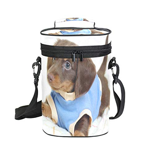 Wine Bag I Want Him Weiner Dog 2 Red Wine Travel Bag Insulated Wine Tote Carrier Cooler Bags with Handle and Adjustable Shoulder Strap