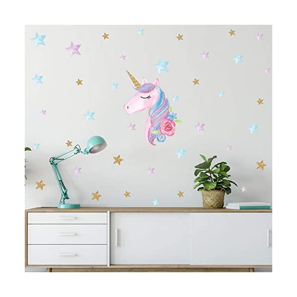 Unicorn Wall Decal, 4 Pack, 4 Styles, Unicorn Wall Stickers Decor with Heart & Stars for Girls Bedroom Home Decorations 5
