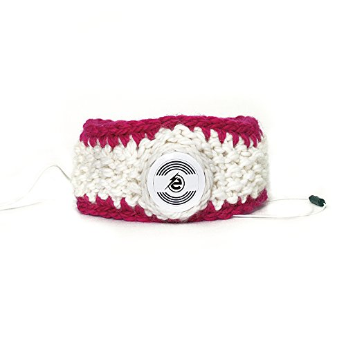 Earebel White & Pink Hand Knitted Headband with Built-In White AKG Headphones, Cikta by Earebel powered by AKG